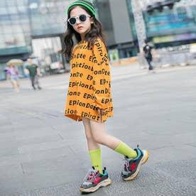 子供服 キッズ 女の子 英字柄 おしゃれ カジュアル 小学生 トップス 韓国子供服 通学着 ゆったり ビックシルエット (オレンジ)