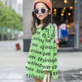 子供服 キッズ 女の子 英字柄 おしゃれ カジュアル 小学生 トップス 韓国子供服 通学着 ゆったり ビックシルエット (グリーン)