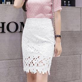 レーススカート フォーマル 大人 可愛い スカート 花柄 膝上丈スカート 裏地付き 透け感 スカート ハイウエスト (ホワイト)