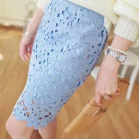 レーススカート フォーマル 大人 可愛い スカート 花柄 膝上丈スカート 裏地付き 透け感 スカート ハイウエスト (薄ブルー)