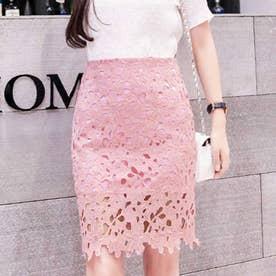 レーススカート フォーマル 大人 可愛い スカート 花柄 膝上丈スカート 裏地付き 透け感 スカート ハイウエスト (ピンク)