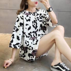 ヒョウ柄 tシャツ レディース 七分袖 チュニック カットソー ゆったり 体型カバー ロングtシャツ プルオーバー コットン (ホワイト)