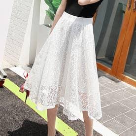 フレアスカート レデイース 総レーススカート ミディアム ウエストゴム 裏地付き 透け感 エレガント (ホワイト)