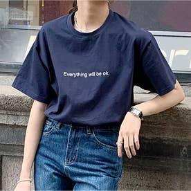 Tシャツ レディーストップス 半袖 (ネイビー)