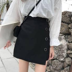 ミニ スカート レディース ハイウエスト Aライン 裾不規則 飾りボタン インナーパンツ ブラック (ブラック)