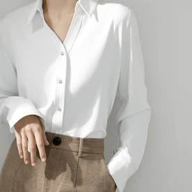 シャツブラウス 長袖 レディース Vネックシャツ おしゃれ ワイシャツ 無地 スキッパーブラウス 白 春夏オフィス OL (ホワイト)