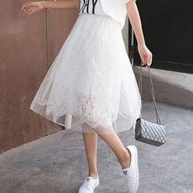 花柄レーススカート レディース メッシュスカート ロング 裏地付き 透け感 フレアスカート ウエストゴム 可愛い Aラインスカート (ホワイト)