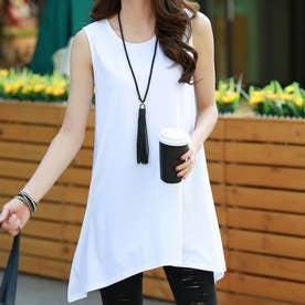 ロングtシャツ レディース ゆったり Aラインフレアトップス ノースリーブ シンプル チュニック 着やせ (ホワイト)