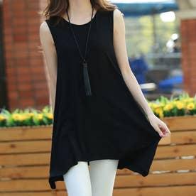 ロングtシャツ レディース ゆったり Aラインフレアトップス ノースリーブ シンプル チュニック 着やせ (ブラック)