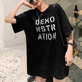 ロング ロゴtシャツ レディース 半袖 カットソー 体型カバー 英字プリントtシャツワンピース ゆったり トップス ラウンドネック (ブラック)