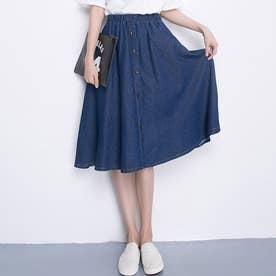 デニム風 フレア スカートレディース ウエストゴム ひざ丈スカート ボタン付き ミディアムスカート (インディゴ)