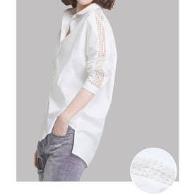 襟付き 前開きシャツ レディース ブラウス 7分袖 レース切り替え トップス 春秋 (ホワイト)