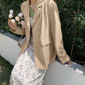 テーラード ジャケット レディース ライトアウター カジュアル スーツジャケット きれいめ オフィス アウター 通勤 OL (ベージュ)