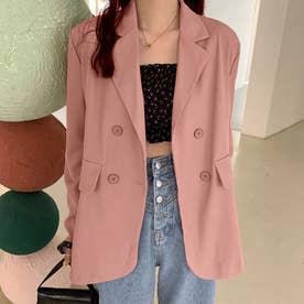 テーラード ジャケット レディース ライトアウター カジュアル スーツジャケット きれいめ オフィス アウター 通勤 OL (ピンク)