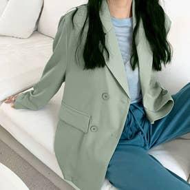 テーラード ジャケット レディース ライトアウター カジュアル スーツジャケット きれいめ オフィス アウター 通勤 OL (ミントグリーン)