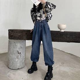 デニムパンツ レディース ワイドパンツ ハイウエスト ボトムス 着やせ ジーンズ ロングパンツ ウエスト調節可能 ゆったり (ブルー)