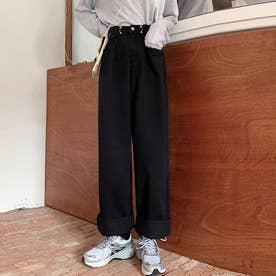 デニムパンツ レディース ワイドパンツ ハイウエスト ボトムス 着やせ ジーンズ ロングパンツ ウエスト調節可能 ゆったり (ブラック)