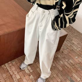 デニムパンツ レディース ワイドパンツ ハイウエスト ボトムス 着やせ ジーンズ ロングパンツ ウエスト調節可能 ゆったり (ホワイト)