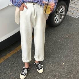 デニムパンツ レディース アンクル丈 ストレートパンツ ハイウエスト ジーンズ ゆったり ジーパン 着やせ ボトムス カジュアル (ホワイト)