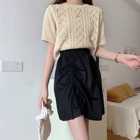 スカート  Aラインスカート 不規則 韓国風 (ブラック)