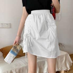 スカート  Aラインスカート 不規則 韓国風 (ホワイト)