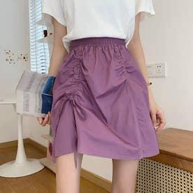 スカート  Aラインスカート 不規則 韓国風 (パープル)