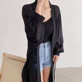 シアーカーディガン UV対策 羽織 薄手 韓国 (ブラック)