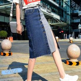 デニムスカート レディース ひざ丈 スカート フロントボタン スリット スカート 切り替え (デニム)