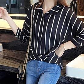 ストライプ スキッパーシャツ レディース おしゃれ 襟付きシャツ ブラウス (ブラック)