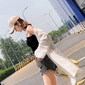 UVケアカーディガン マキシ丈 ロング UV対策 紫外線対策 リゾートカーディ ゆったり 日焼け防止 かわいい (ホワイト)