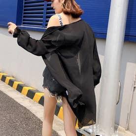 UVケアカーディガン マキシ丈 ロング UV対策 紫外線対策 リゾートカーディ ゆったり 日焼け防止 かわいい (ブラック)