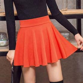 サーキュラースカート フレアスカート レディース ミニスカート aラインスカート ハイウエスト スカート 可愛い (オレンジ)