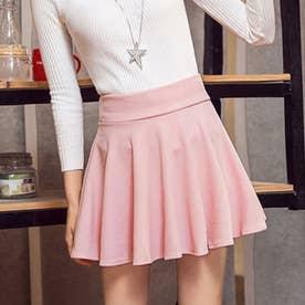 サーキュラースカート フレアスカート レディース ミニスカート aラインスカート ハイウエスト スカート 可愛い (ピンク)