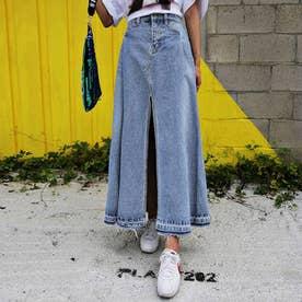 デニムスカート レディース スリット入り フレアスカート 大きいサイズ レトロスカート 裾フリンジ ロングスカート 韓国風 (サックス)