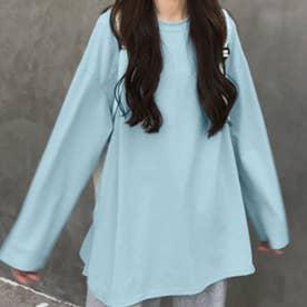 チュニックロンT レディースロングtシャツ (薄ブルー)