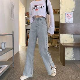 デニムパンツ レディース ワイドパンツ サイドスリット ストレートパンツ ハイウエスト ボトムス 着やせ ゆったり ジーンズ (サックス)