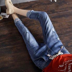 デニムパンツ 7分 ズボン ゴムウエスト ダメージデニム レディース ゆるいジーンズ (ブルー)