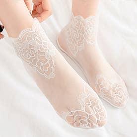 レースソックス レディース シースルー 花柄 脱げにくい 靴下 通気性 エレガント ショート丈 オシャレ (ホワイト)