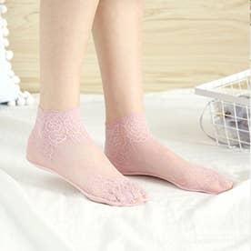 レースソックス レディース シースルー 花柄 脱げにくい 靴下 通気性 エレガント ショート丈 オシャレ (ピンク)