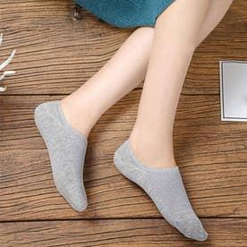 靴下 レディース 滑りにくい ソックス 浅履き フットカバー 無地 インソックス 婦人 (ライトグレー)