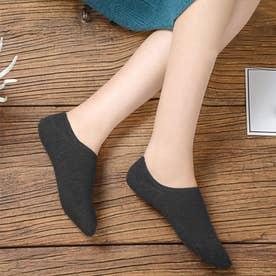 靴下 レディース 滑りにくい ソックス 浅履き フットカバー 無地 インソックス 婦人 (ダークグレー)