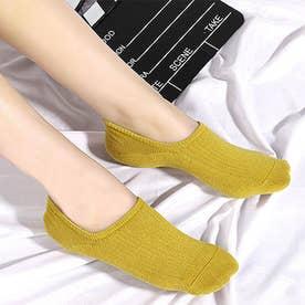 靴下 レディース 滑りにくい ソックス 浅履き フットカバー 無地 インソックス 婦人 (イエロー)