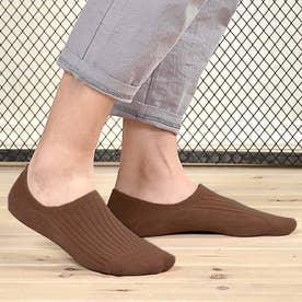 靴下 レディース 滑りにくい ソックス 浅履き フットカバー 無地 インソックス 婦人 (ブラウン)