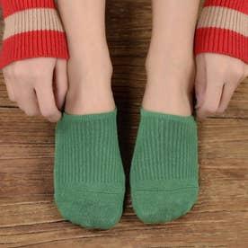 靴下 レディース 滑りにくい ソックス 浅履き フットカバー 無地 インソックス 婦人 (グリーン)