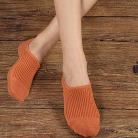 靴下 レディース 滑りにくい ソックス 浅履き フットカバー 無地 インソックス 婦人 (オレンジ)