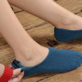 靴下 レディース 滑りにくい ソックス 浅履き フットカバー 無地 インソックス 婦人 (デニムブルー)