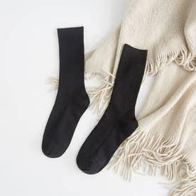 リブソックス レディース ミドル丈 靴下 無地 綿混 ソックス 通学 薄手 カラバリ 靴下 (ブラック)