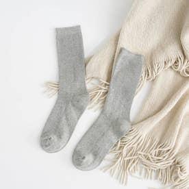 リブソックス レディース ミドル丈 靴下 無地 綿混 ソックス 通学 薄手 カラバリ 靴下 (ライトグレー)