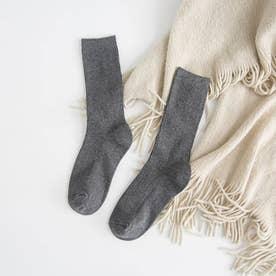 リブソックス レディース ミドル丈 靴下 無地 綿混 ソックス 通学 薄手 カラバリ 靴下 (ダークグレー)