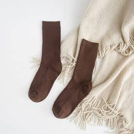 リブソックス レディース ミドル丈 靴下 無地 綿混 ソックス 通学 薄手 カラバリ 靴下 (ブラウン)
